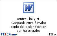 contre Linky et Gaspard : lettre à maire copie de la signification par huissier.doc